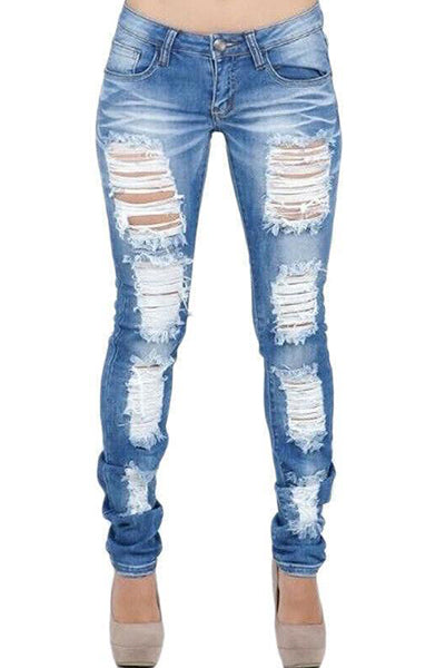 【Only $29.98!!】Ripped Distressed Skinny Stretch Denim Jeans - BestLittleThing