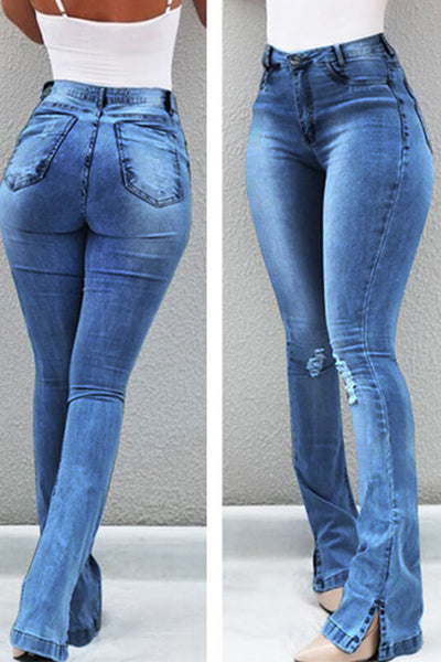 High-Waist Split Hole Pants Micro-la Jeans - BestLittleThing