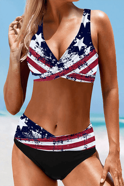 Star Strap V-Neck Vintage Plus Size Bikinis Swimsuits - BestLittleThing