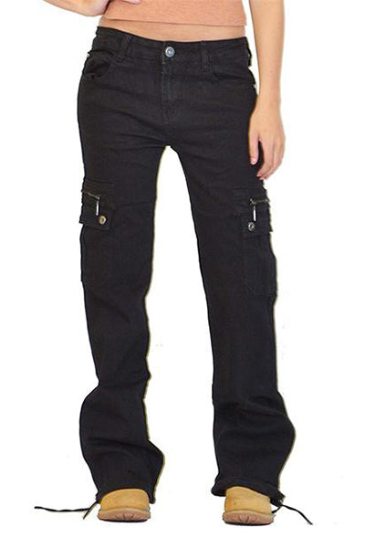 Wide Leg Hiking Multi-pocket Cargo Pants Combat Jeans - BestLittleThing
