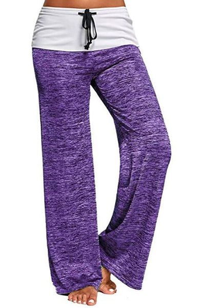 Drawstring Pockets Stretch Wide Leg Yoga Pants - BestLittleThing