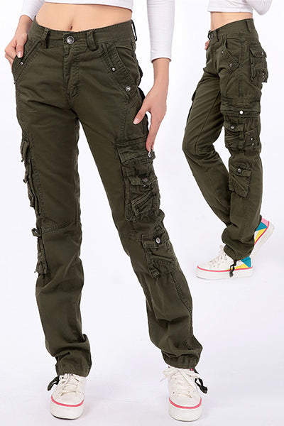 Military Combat Multi-pocket Straight Loose Cargo Pants - BestLittleThing
