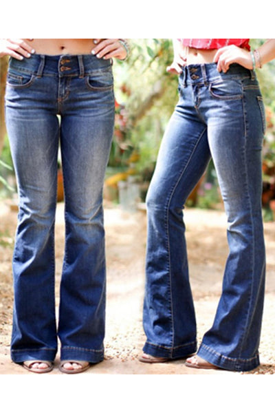 【Only $29.98!!】Mid Waist Casual Button Bell-bottom Jeans - BestLittleThing