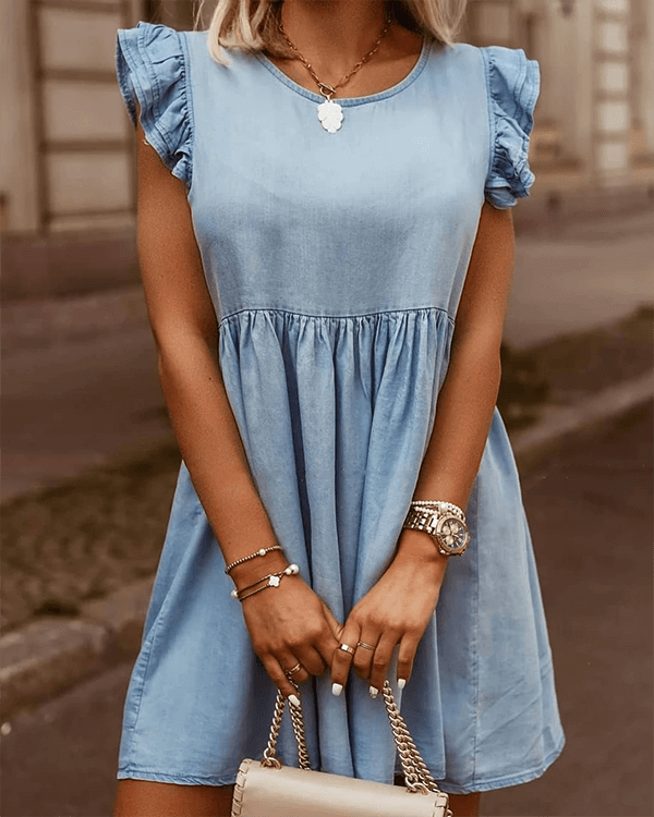 FOCUSSTYLE Ruffle Cuffs Denim Dress - BestLittleThing