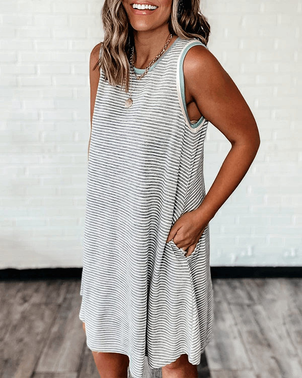 FOCUSSTYLE Crew Neck Stripe Dress - BestLittleThing