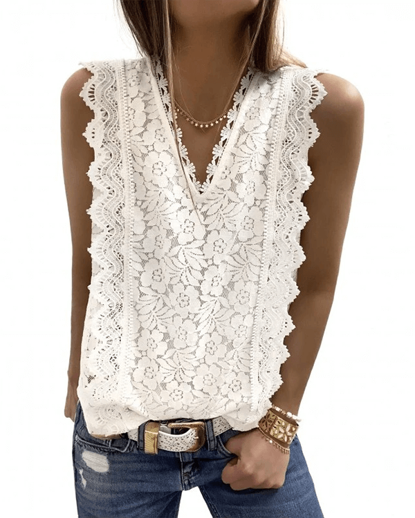 [50% OFF Today & FREE SHIPPING]Lace V Neck Tunic (2 Colors) - BestLittleThing