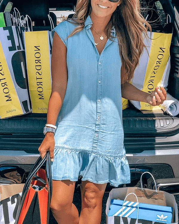 FOCUSSTYLE Button Ruffle Hem Denim Dress - BestLittleThing