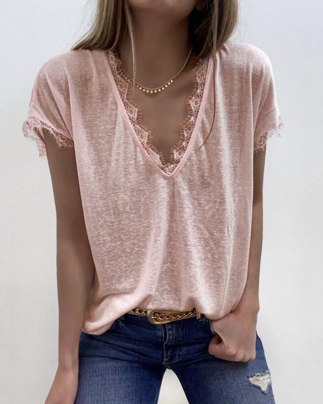 [50% OFF TODAY & FREE SHIPPING]V-Neck Lace Cozy Top (5 Colors) - BestLittleThing