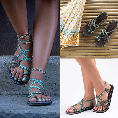 【Buy 2 Get 10% Off & Free Shipping】WOMEN'S SUMMER BEACH HANDMADE RING TOE BRAIDED FLAT SANDA - Pointsmarts