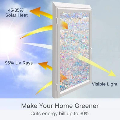 [Last Day Promotion, 50%-70% OFF] 3D Rainbow Window Film (19.7*39.4 inches/45*100cm)-Buy More Save More - IlifeGadgets