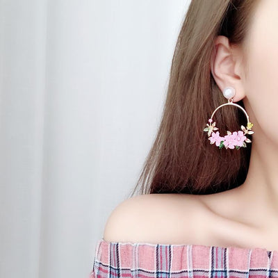 50% OFF - Big Round Flower Drop Earrings - IlifeGadgets