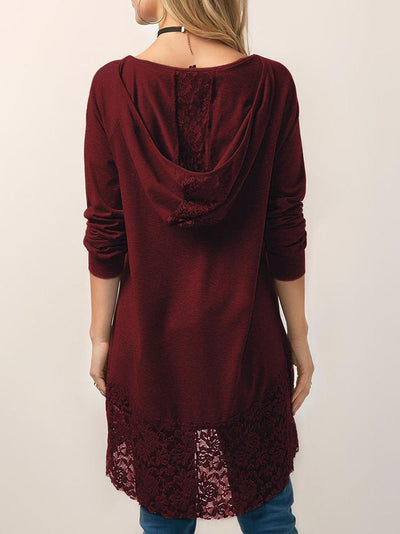 Long Sleeve Hooded Lace Hem Tops【60% OFF】 - IlifeGadgets