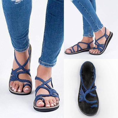 【Buy 2 Get 10% Off & Free Shipping】WOMEN'S SUMMER BEACH HANDMADE RING TOE BRAIDED FLAT SANDA - IlifeGadgets