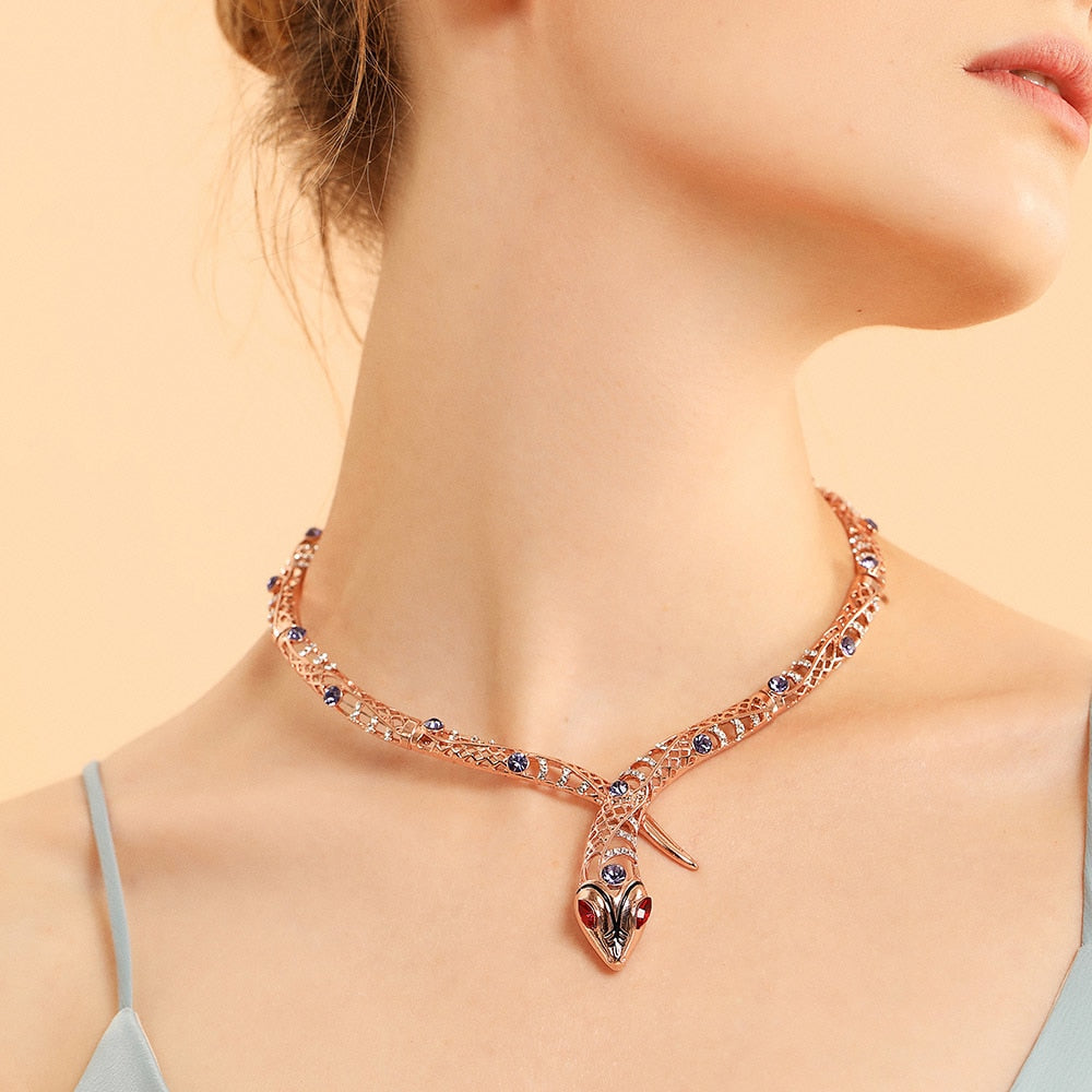 Rose Gold Color Snake Necklace - IlifeGadgets