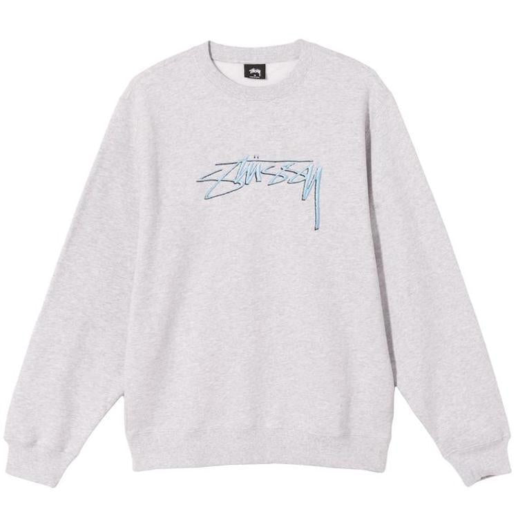 Stussy Smooth Stock Embroidered Sweatshirt Ash Heather