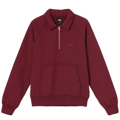Stussy Polo Zip Fleece Sweatshirt Maroon