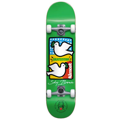 Almost Skateboards Double Doves Skateistan Sky Brown Green Youth Complete Skateboard 7.5