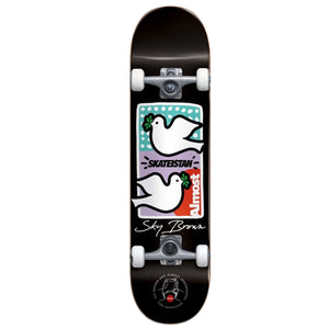 Almost Skateboards Double Doves Skateistan Sky Brown Black Youth Complete Skateboard 7.875""