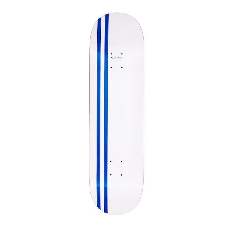 Skateboard Cafe Stripe White/Royal Skateboard Deck 8.375