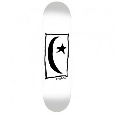 Foundation Skateboards Star & Moon Square White Skateboard Deck 8.5