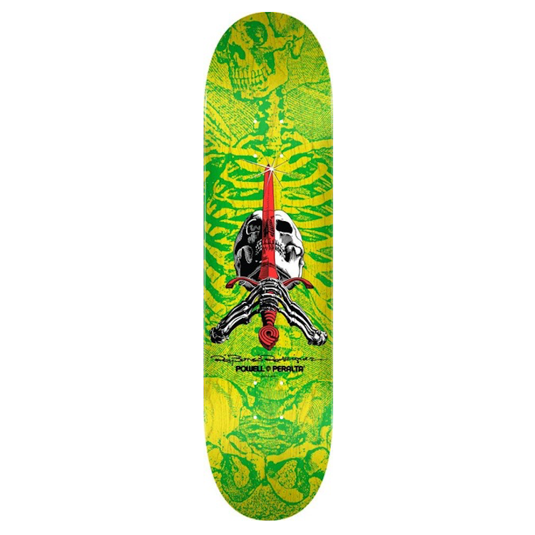 Powell Peralta Skull & Sword Shape 244 Yellow Skateboard Deck 8.5