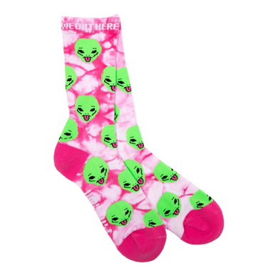 RIPNDIP We Out Here Pink Lightning Wash Crew Socks