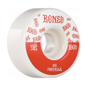 Bones Wheels 100's V4 #13 Wide White Skateboard Wheels 100a 52mm