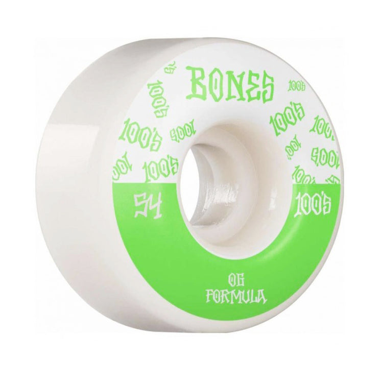 Bones Wheels 100's V4 #13 Wide White Skateboard Wheels 100a 54mm