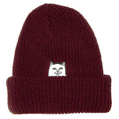 RIPNDIP Lord Nermal Ribbed Burgundy Beanie