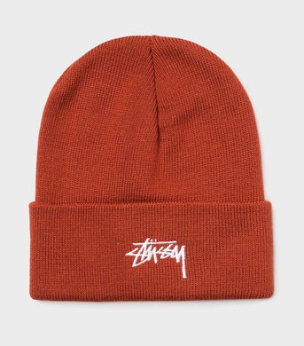 Stussy Stock Logo Embroidered Beanie Rust