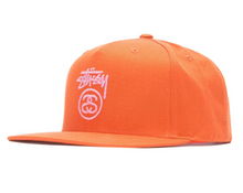 Stussy Stock Lock Logo Snapback Cap Orange