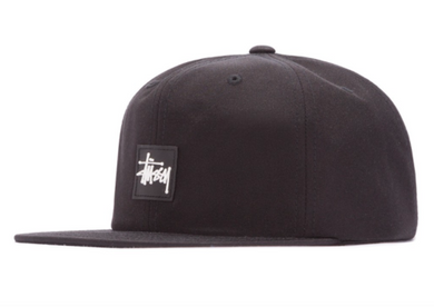 Stussy Stock Logo Rubber Patch Cap Black