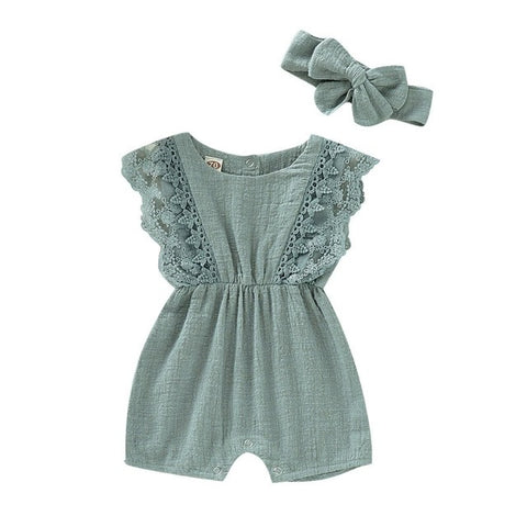 Spring Lace Romper Jumpsuit with Headband