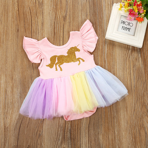 Newborn Toddler Baby Girls Unicorn Lace Tulle Bodysuits
