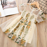 Embroidery Lace Flower Princess Dress 3T-7