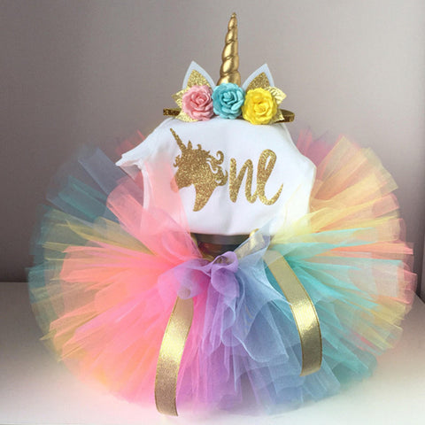 1 year birthday unicorn dress for baby girl