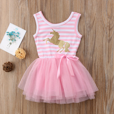 Little Girl Gold Unicorn Tulle Sleevelss Party Dress