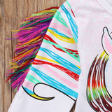 Toddler Kids Girls Unicorn Long Sleeve Tassles T-shirt