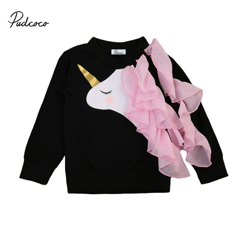 Unicorn Infant Toddler Girls Long Sleeve Lace Ruffles Top 0-6Y