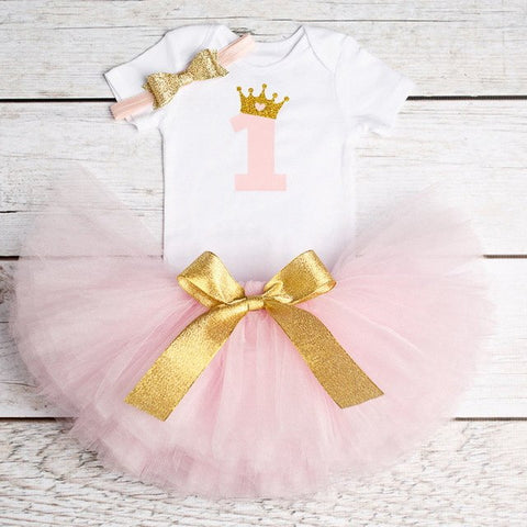 3pcs New Born Baby Girl First Birthday Colorful Dress with Headband