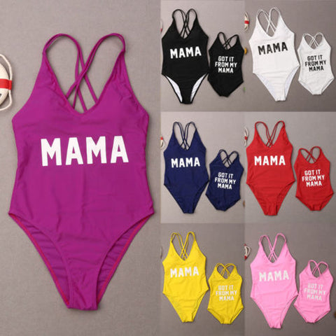 7 color Mama and Got it From My Mama Mother Daughter Swimsuit Family Matching Beachwear