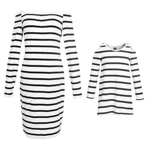 Mother and Daughter Stripe Boat Neck Matching  Dress