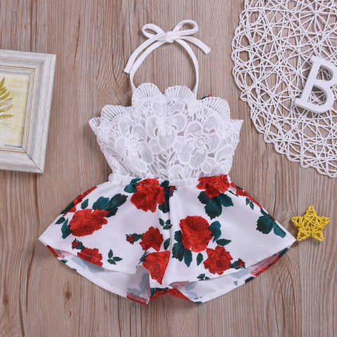 Sleeveless Lace Flower Print Strap Romper Jumpsuit One-Piece