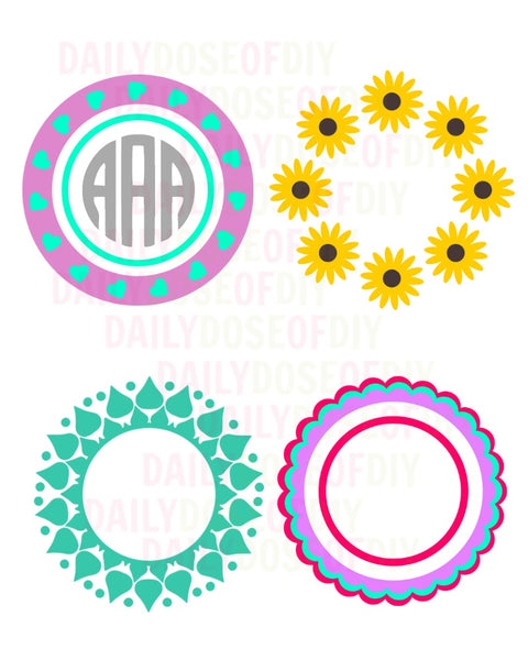 Circle Monogram SVG File Set