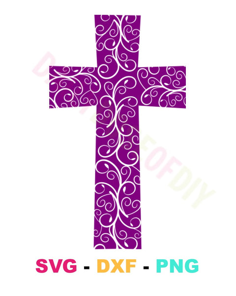Filigree Cross with Flourishes SVG Cut File
