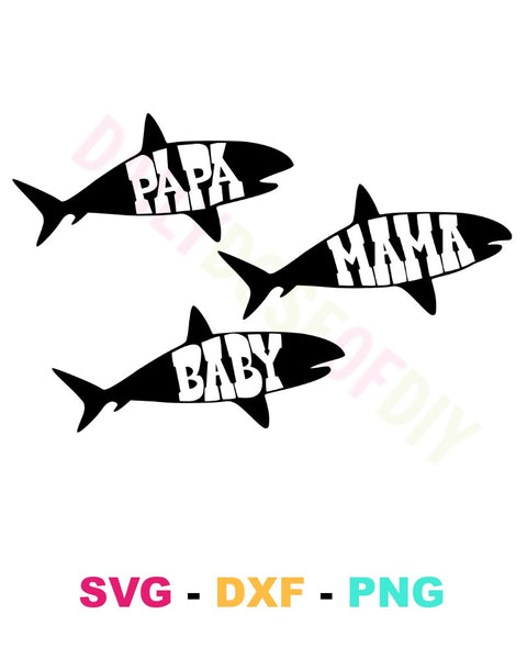 Mama Papa Baby Shark SVG Cut File