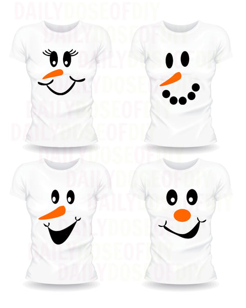 Snowman Faces SVG Set of Four