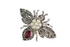 A Vintage Ruby and Pearl Bug Brooch