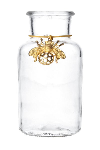 Mini Bottle Vase with Gold Bee Charm