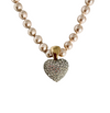 Vintage Pavé Set Crystal Heart Pendant on Pearl Necklace